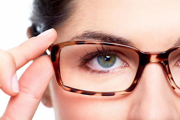 close up woman glasses